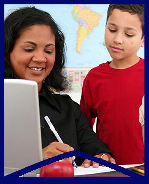 Teacher helps student