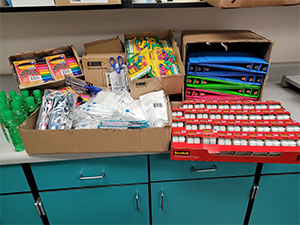 School supplies on counter