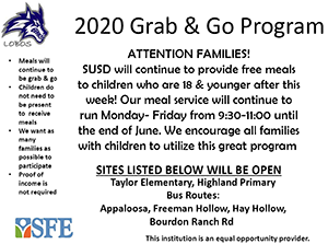 2020 Grab and Go Program flyer