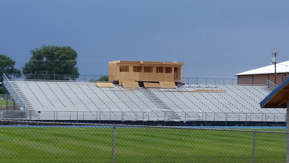 Front view of press box during construction