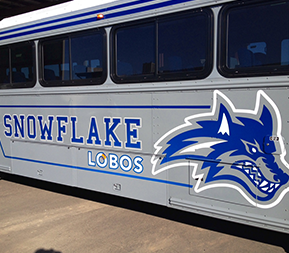 Bus with Snowflake Lobos written on side