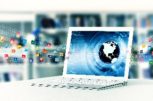 Laptop Computer displaying globe image