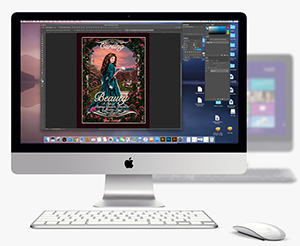 Desktop Computer displaying book cover design