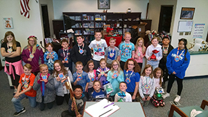 Fifth graders wearing their competition medals