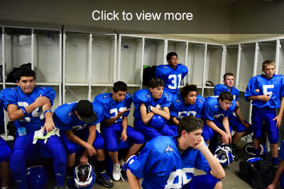 Football team in locker room