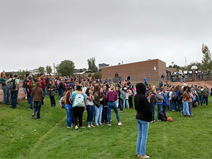 group of students out on a field