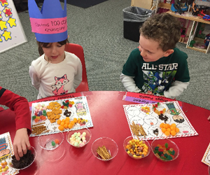 Students participate in a food activity