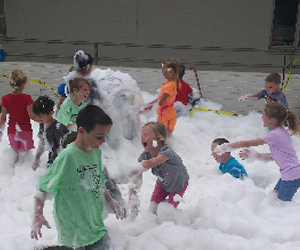 Students participate in a foam activity