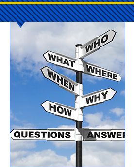 Road sign with who, what, where, when, why, how, questions, and answers in different directions