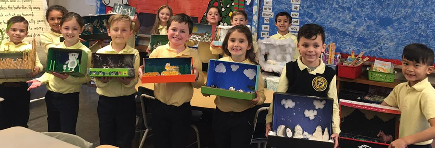 students with their art projects