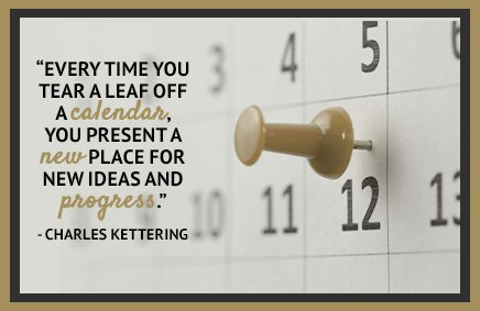 Every time you tear a leaf off a calendar, you present a new place for ideas and progress. - Charles Kettering