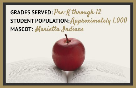 Grades served: Pre-K through 12. Student population: Approximately 1,000. Mascot: Marietta Indians.