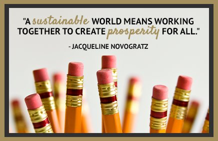 A sustainable world means working together to create prosperity for all. - Jacqueline Novogratz