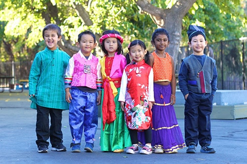 Students in International Costumes