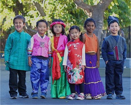 kids in cultural costumes