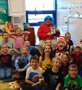 teacher and students celebrating Dr. Seuss