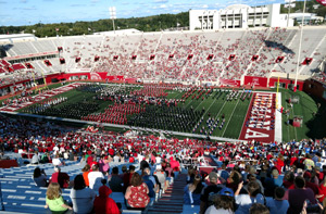 Band performing on the football field at Indiana State University