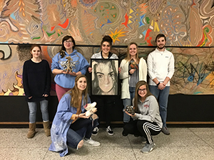 Scholastic Art Award winners with their art works