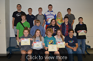 View more photos. Attendance award winners in the freshman class pose together.