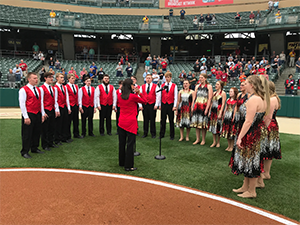 Touch of Class performs at the Indians Game