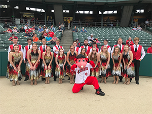 Touch of Class poses with the Indians Mascot