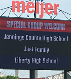 Banner says Special Group Welcome. Jennings County High School