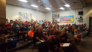 Sixth graders and parents attending parent night