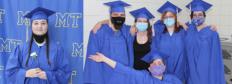 Graduates dressed in cap and gown on graduation day