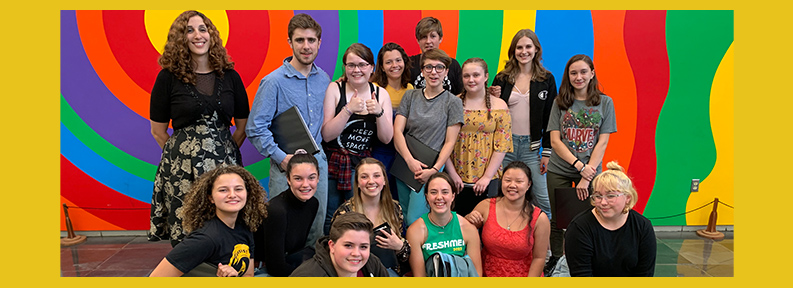 Students with colorful background