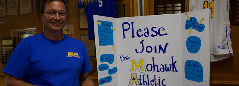 Man and Please Join Mohawk Athletic sign