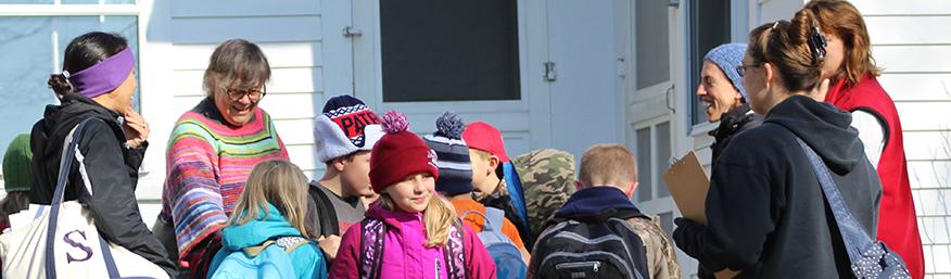 students on Colrain hike