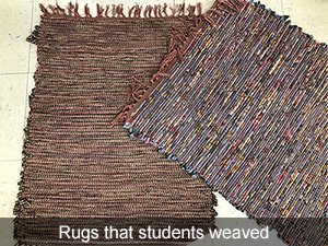 Rugs that students weaved