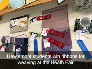 Hawlemont students win ribbons for weaving at the Heath Fair