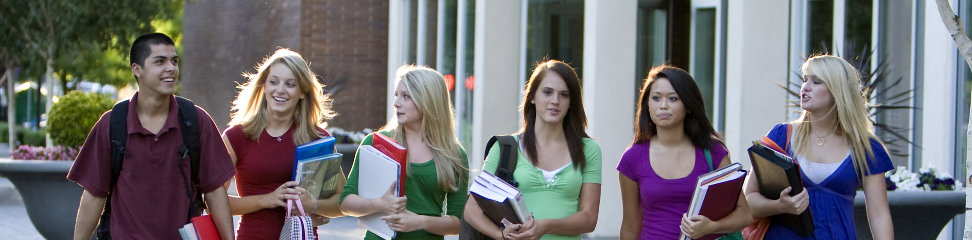 high school students walking outside
