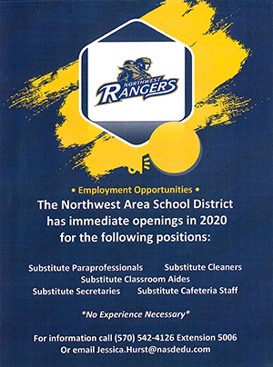 Substitute Position Openings flyer