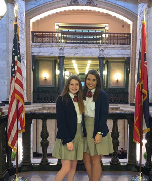 Caroline Williamson and Abbi Roark at the state capitol