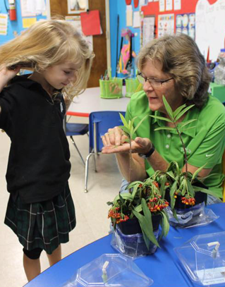 Teacher showing student plants