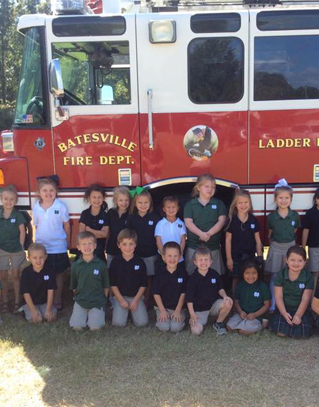 Students in front of a Batesville Fire engine