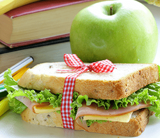 sandwich and apple