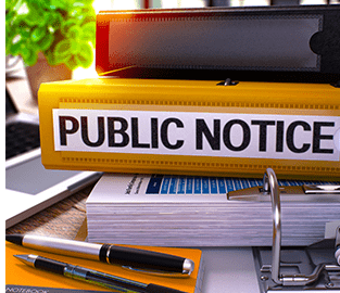 Public Notice binder stack graphic