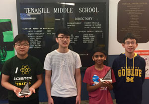 MathCounts team members John Park, Justin Hwang, Dhyan Sankar, and Bryan Ding
