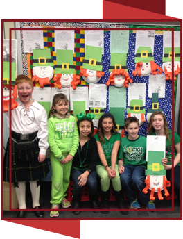 Students with St. Patrick's Day projects