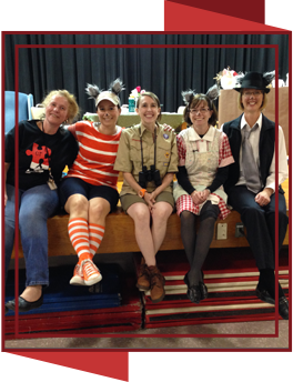 PTA officers dressed in costumes