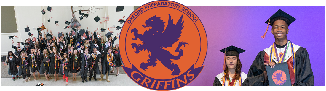 Oxford Preparatory School logo with pictures of graduates