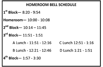Homeroom Bell Schedule