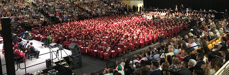 Class of 2018 getting ready to graduate in the school's auditorium