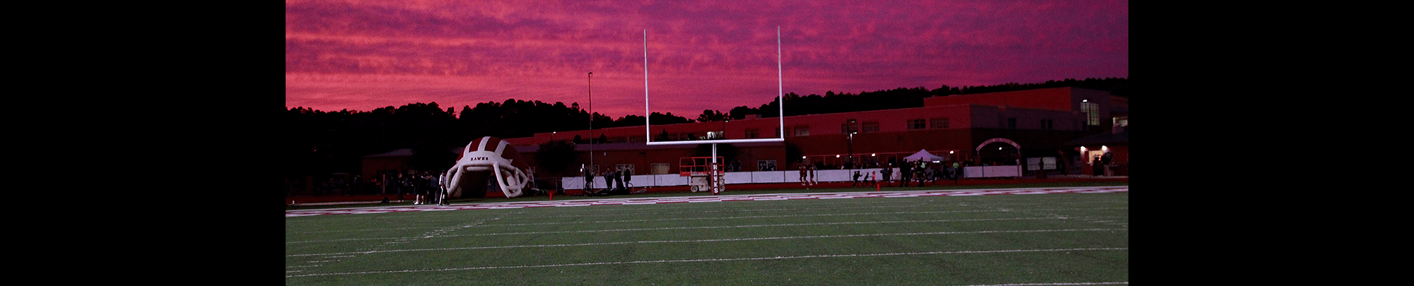 Evening view of the football field