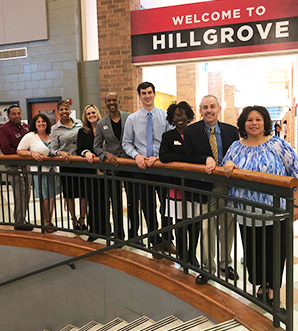Hillgrove's administration staff posing before senior night