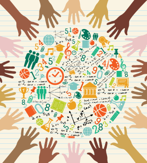 Back to school global icons education diversity human hands