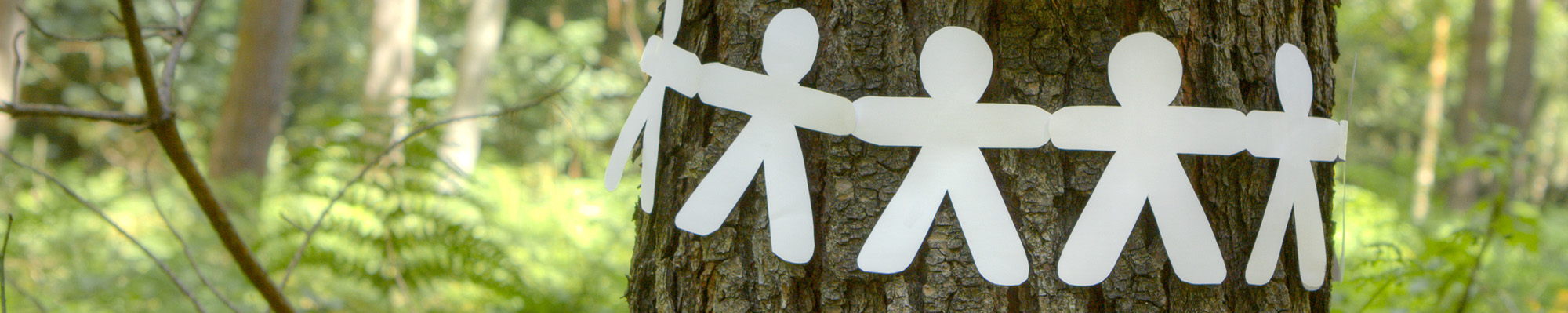 Paper men on tree trunk in the forest